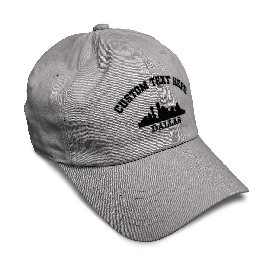Custom Soft Baseball Cap Dallas Tx Skyline with Name Embroidery Twill Cotton