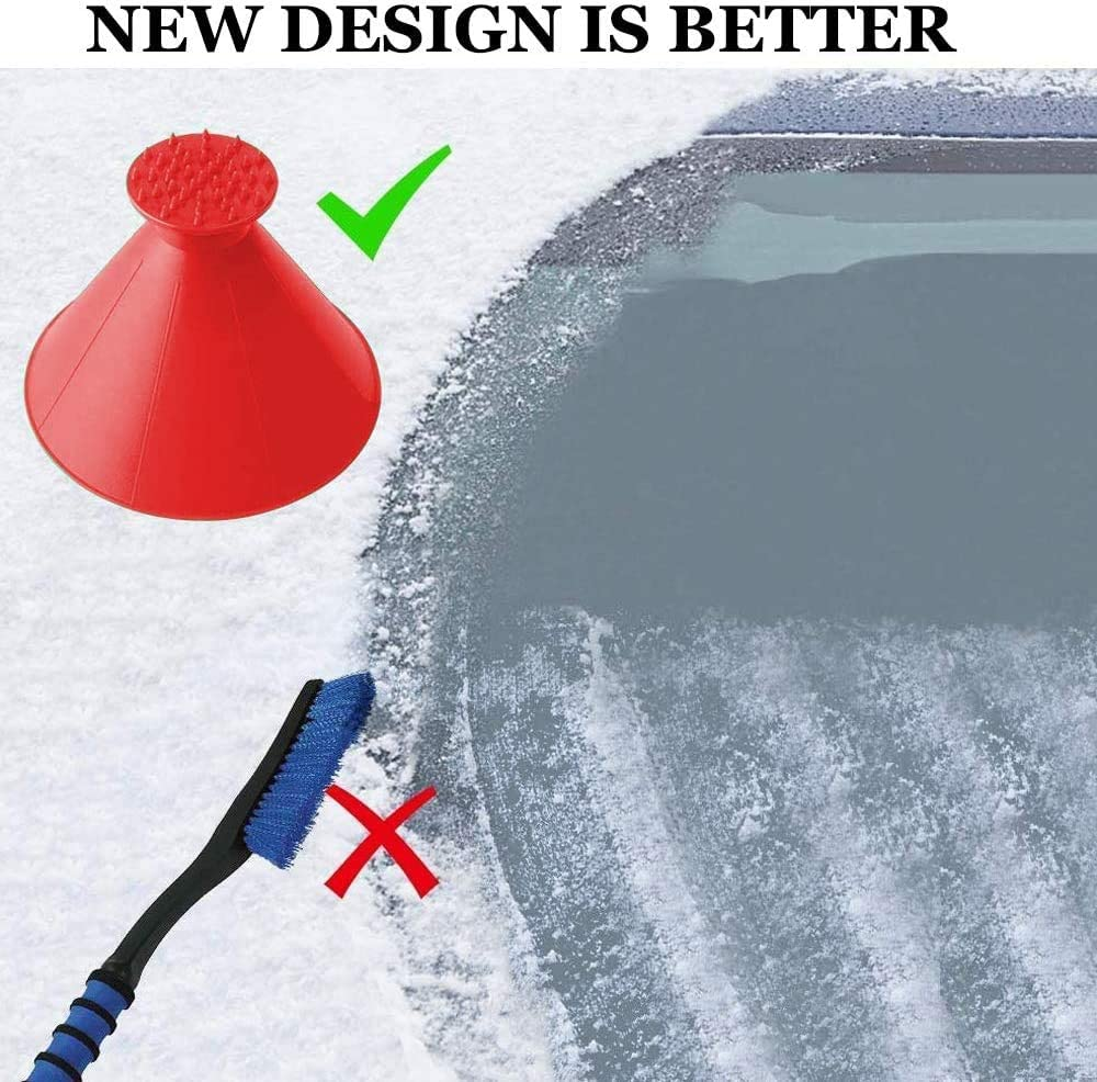 Round Ice Scraper Cone,4 Pack for Car Windshield and Window Snow Scraper Magical Car Ice Scraper for Windshield