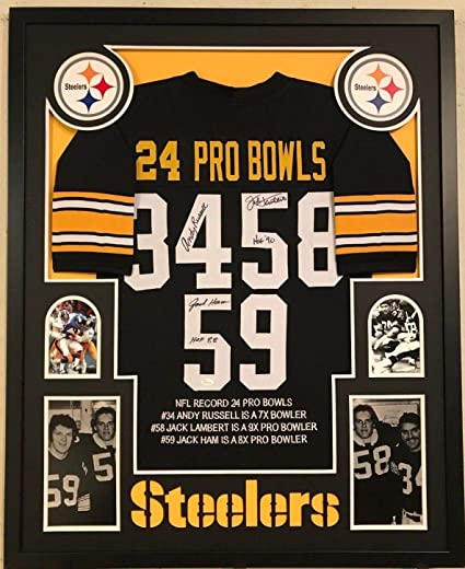 9504f835083 Image Unavailable. Image not available for. Color  FRAMED JACK LAMBERT-JACK  HAM-ANDY RUSSELL SIGNED STEELERS STAT JERSEY JSA COA