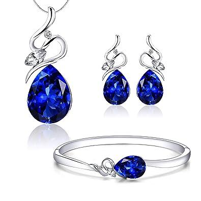 Menton Ezil  quot Enchanted Love Swarovski Necklace Earrings Tennis  Bracelet 18K White Gold Plated Wedding 1412c2fc82