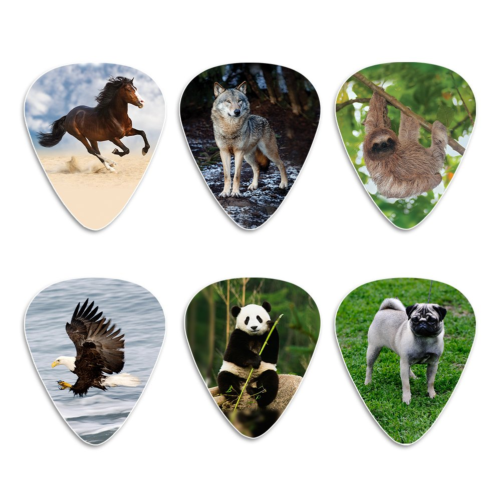 Creanoso Animal Guitar Picks (12-Pack) - Dog Eagle Sloth Horse Panda Wolf Plectrum Medium Celluloid - Stocking Stuffers for Adult Men Women Teens Kids Boys Girls Guitar Gifts by Creanoso
