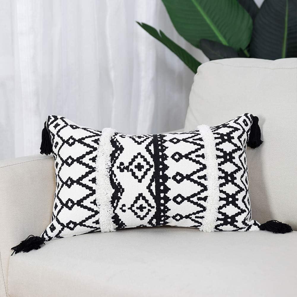 Apricot Cover Decorative Ornamental Head Lumbar Pillow Case Round Striped Fine Woven