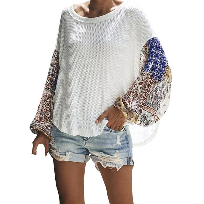 ABsolute Camiseta ❤ Blusa de Costura Floja de Las Mujeres, Las Mujeres Ocasionales más el tamaño de la Camisa Suelta de Costura de Manga Larga Blusa de ...