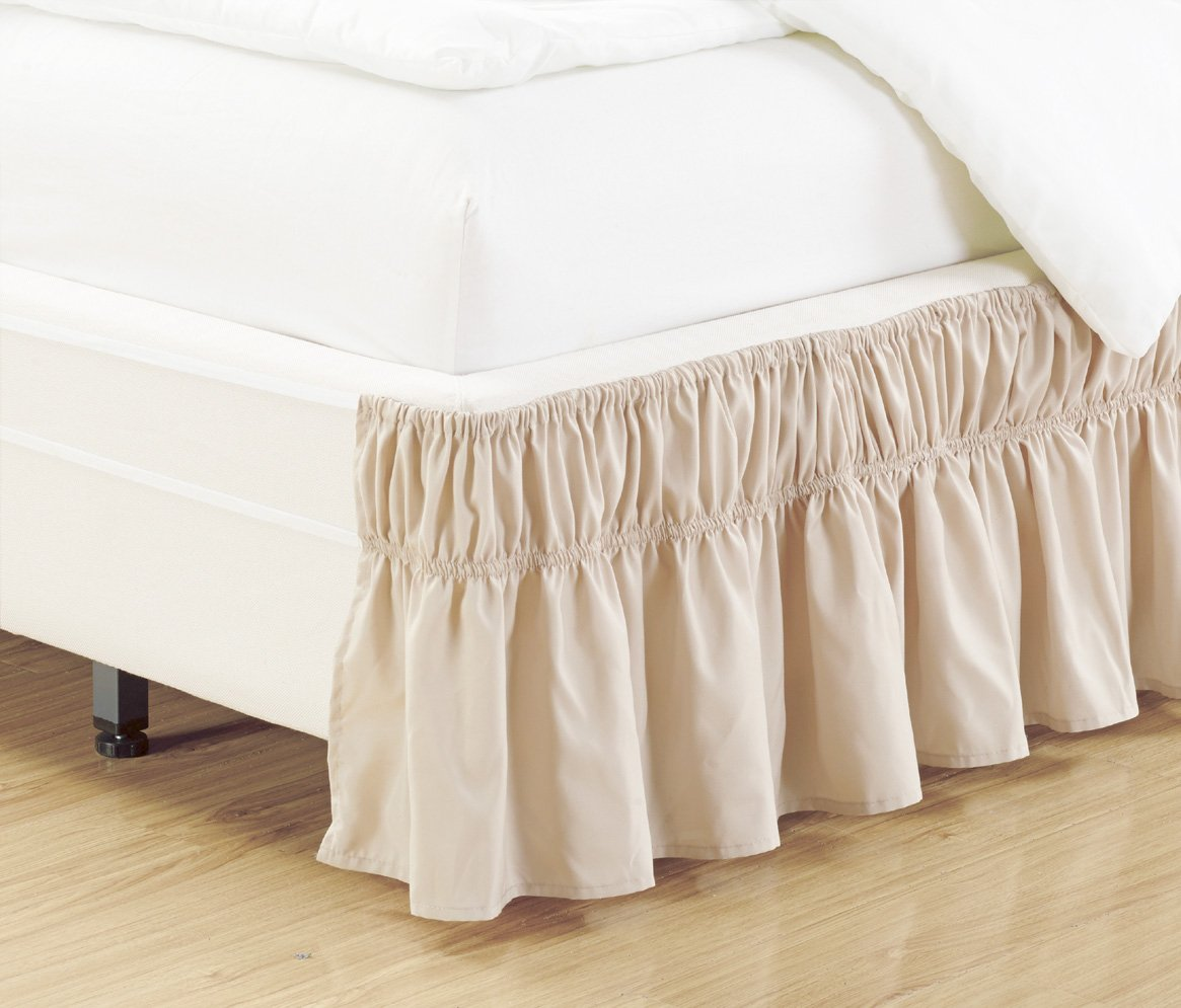 Wrap Around 15'' inch fall LIGHT BEIGE Ruffled Elastic Solid Bed Skirt Fits All QUEEN, KING and CAL KING size bedding High Thread Count Microfiber Dust Ruffle, Soft & Wrinkle Free.