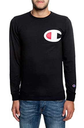 "e4dfde23 Image Unavailable. Image not available for. Color: CHAMPION T-shirts The  Heritage""C"" Patch Applique Long Sleeve ..."
