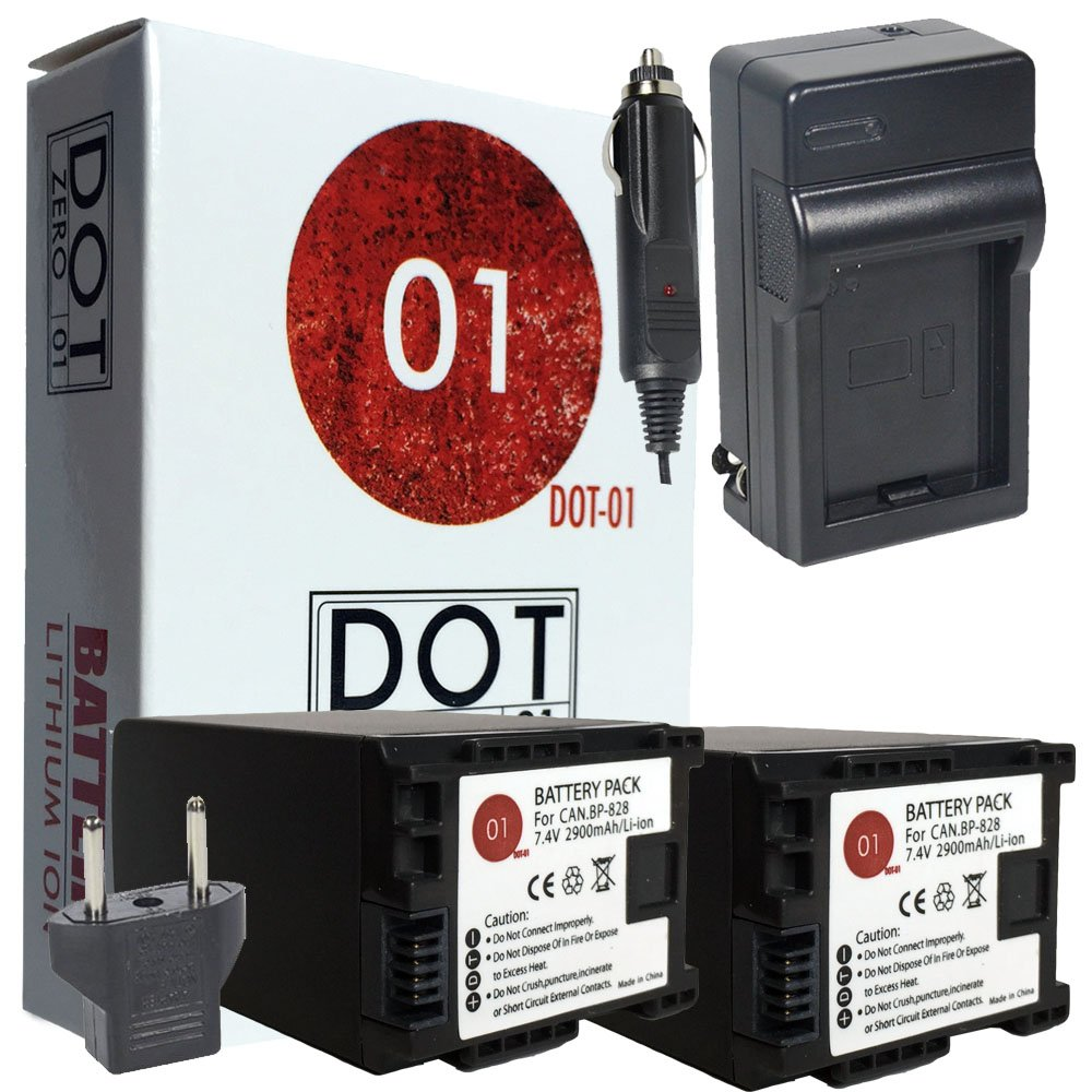DOT-01 2X Brand Canon HF G40 Batteries and Charger for Canon HF G40 Camera and Canon HFG40 Battery and Charger Bundle for Canon BP828 BP-828