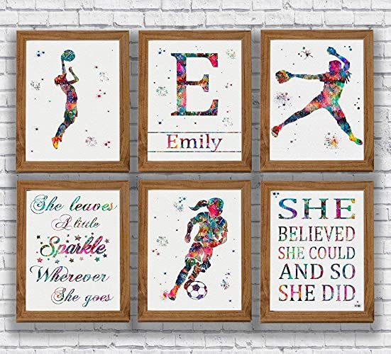 Amazon Com Personalised Sports Player Girl Watercolor Print