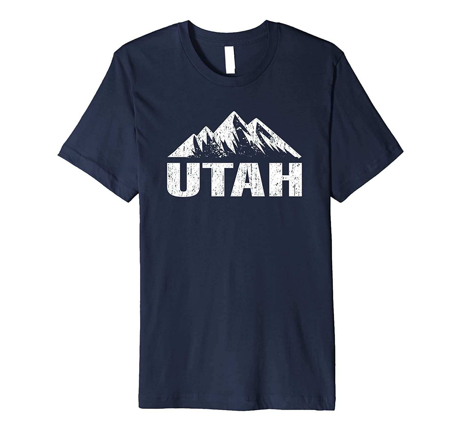 Utah State With Mountains Distressed Home T-shirt-CD