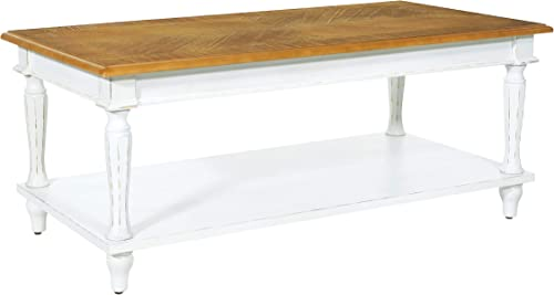 OSP Home Furnishings Medford Cocktail Table, Distressed White