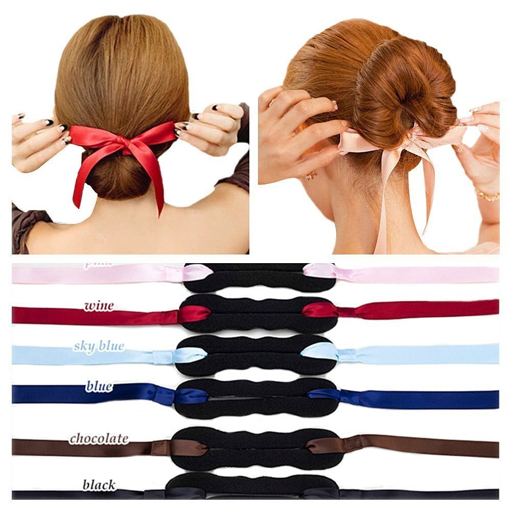 3pcs Braid Style Hair Bun Maker with Ribbon, Women Girls Beauty Crown and Donut Shaper Donut Hair Style Hair Roller Headband Magic DIY Curler Roller Hair Styling Tool Party Hair Accessories by DAXUN