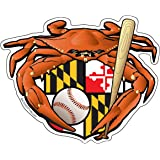 Maryland Oriole Baseball Crab Maryland Crest 5x4 inches sticker decal die cut vinyl - Made in USA