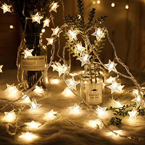 Anyumocz Star String Lights Usb Powered 20 Warm White Stars Indoor And Outdoor Decoration For Garden Decoration Wedding Party New Year Christmas
