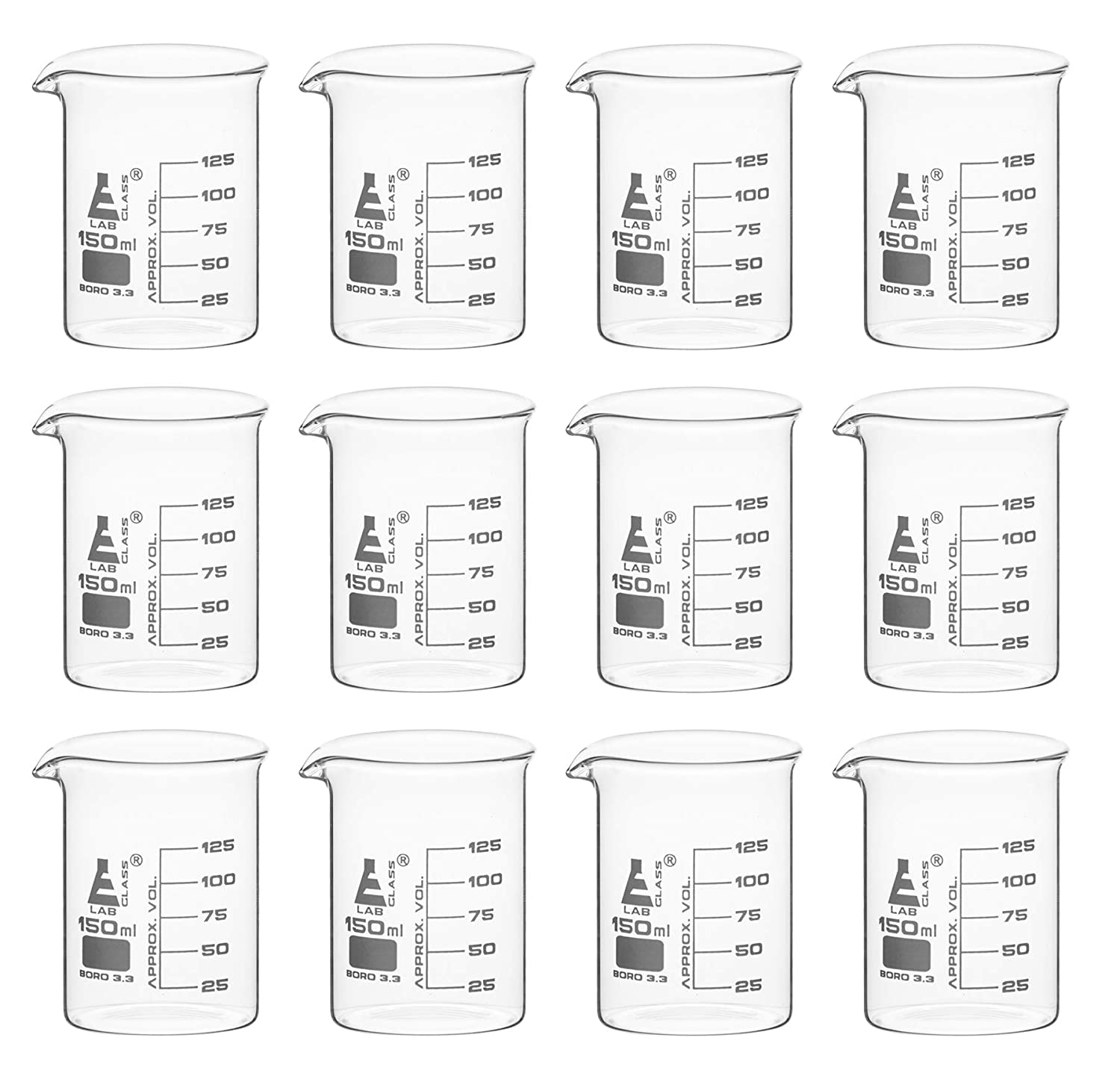 12 Pack Beakers, 150ml - Borosilicate Glass, Low Form - 125ml Graduations - Eisco Labs