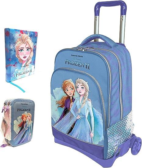 Mochila escolar Trolley Frozen II Versión Deluxe Viaje + Estuche de 3 pisos completo + Diario + Llavero + 10 bolígrafos de colores: Amazon.es: Deportes y aire libre