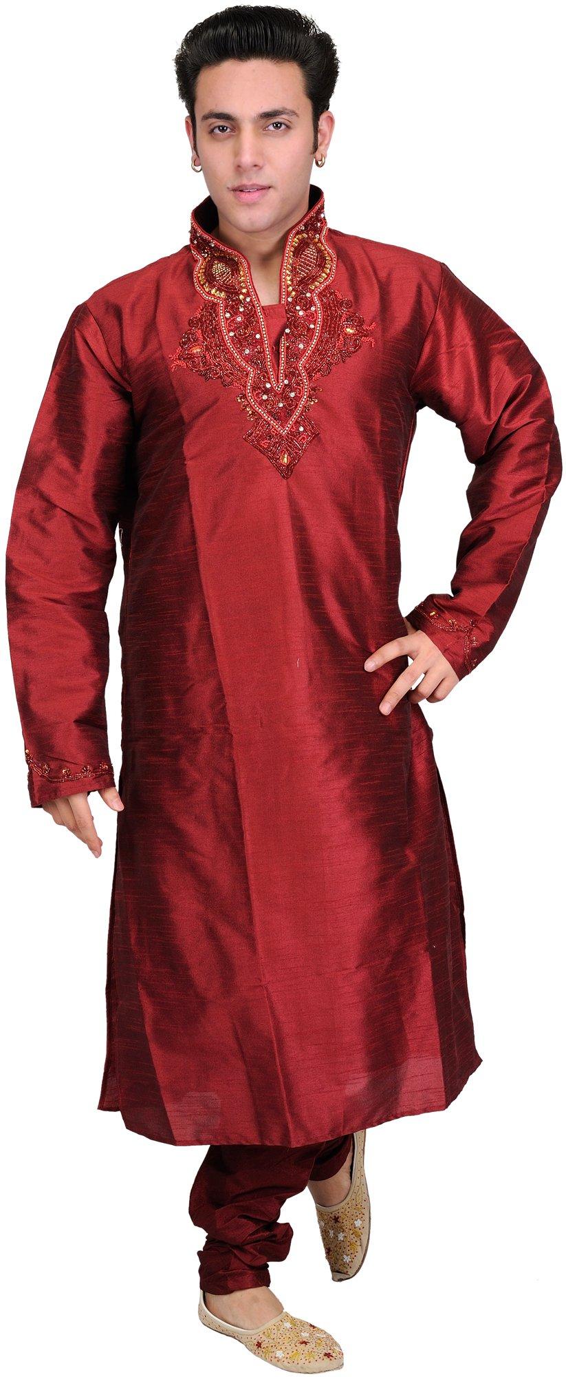 Exotic India Maroon Wedding Kurta Pajama Set With Embro - Red Size 40