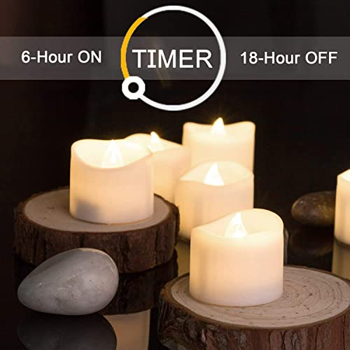 Homemory Battery Tea Lights with Timer, 6 Hours on and 18 Hours Off in 24 Hours Cycle Automatically, Pack of 12 Timing LED Candle Lights in Warm White