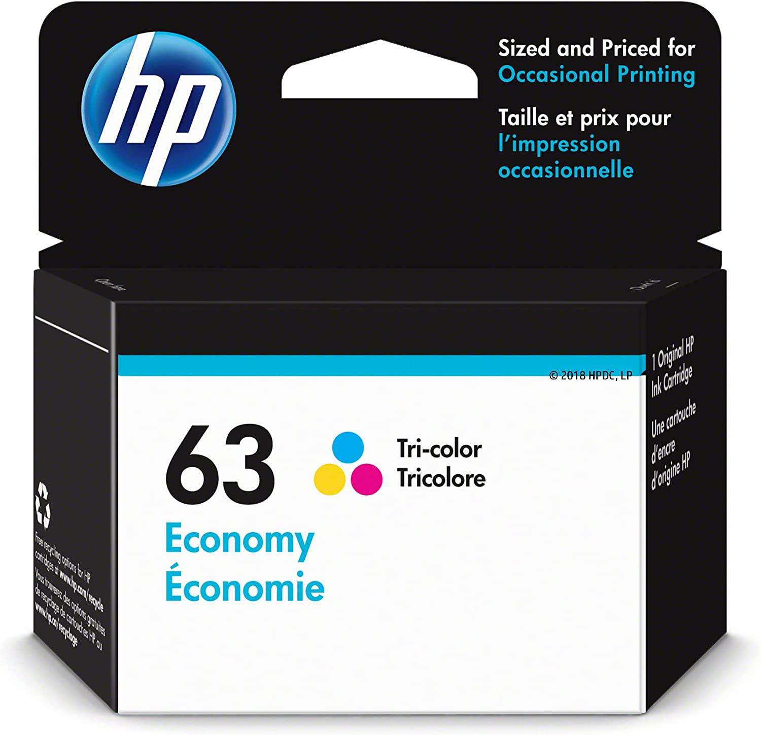 HP 63 | Ink Cartridge | Tri-Color | Economy Size | 1VV44AN | Discontinued by Manufacturer