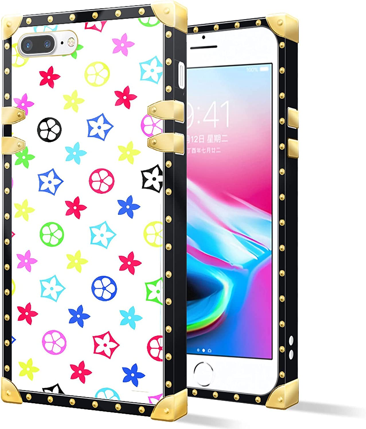 Square Case Compatible iPhone 8 Plus,Colored Flowers White Luxury Elegant Soft TPU Shockproof Protective Metal Decoration Corner Back Cover Case iPhone 7/8 Plus Case 5.5 Inch