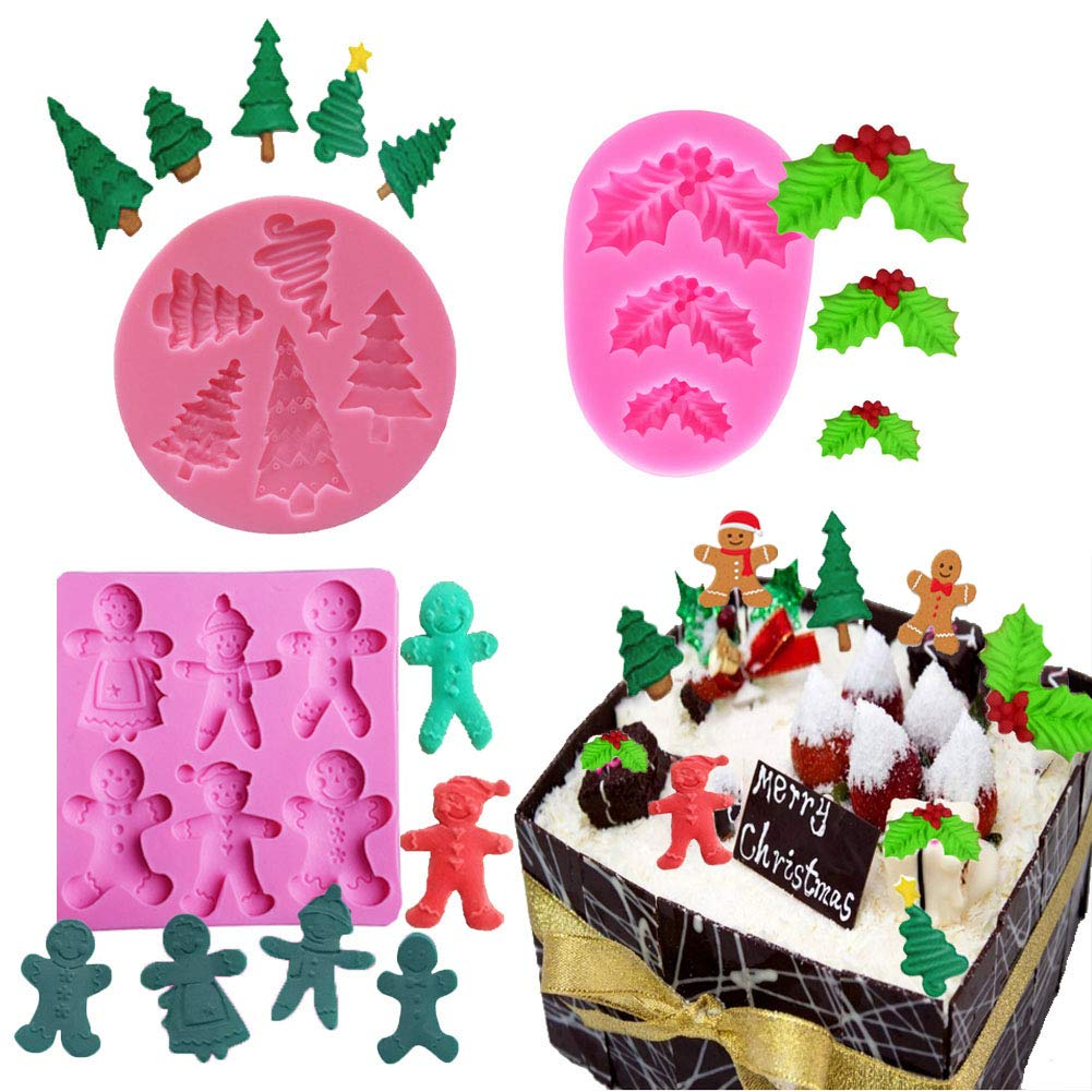 Amazon Com Busoha Christmas Fondant Mold Silicone 3d Mini Holly