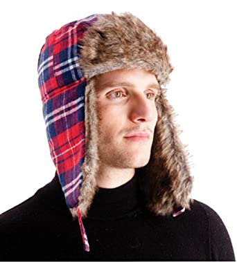 71da1885 Men's Bright Red Checked Lined Trapper Hat with Faux Fur Trim: Amazon.co.uk:  Clothing
