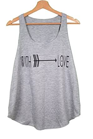 75cf8f0a9d5 with Love Text Print Ethnic Arrow Women Ladies Sleeveless Vest Tank-TOP  Shirt  Amazon.co.uk  Clothing
