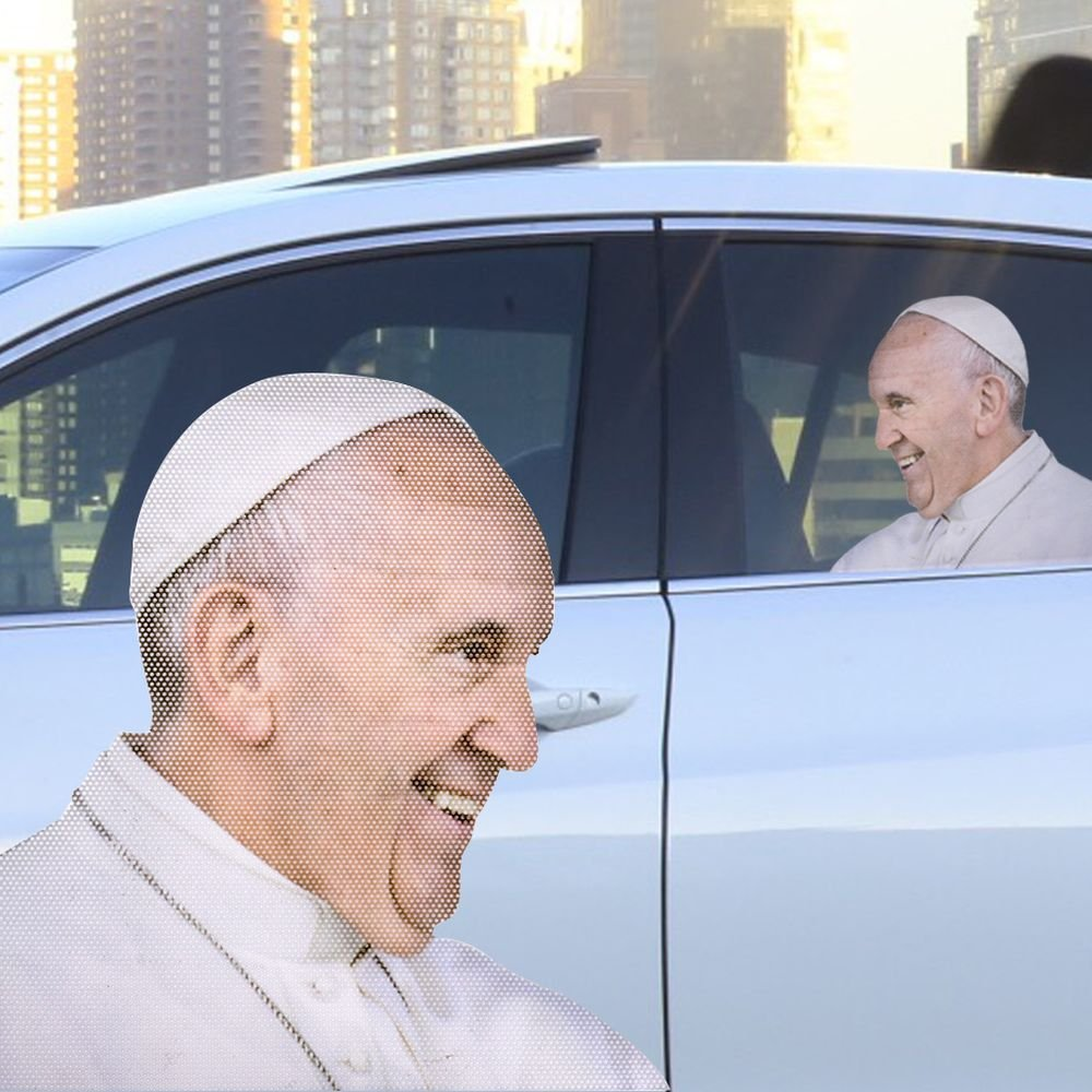 Parcours avec le Pape de voiture passager fenêtre Autocollant on sale