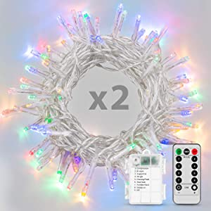 Koxly Christmas Lights, 2 Pack Battery Operated String Lights with Remote Timer Waterproof 8 Modes 36ft 100 LED String Lights for Bedroom,Garden,Party,Xmas Tree Indoor Outdoor Decorations, Multicolor