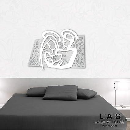 LAS - LASER ART STYLE Quadro Capezzale Sacra Famiglia Moderno per Camera da  Letto SI-228XL-T5, Legno, Argento-Bianco, 90x70 cm