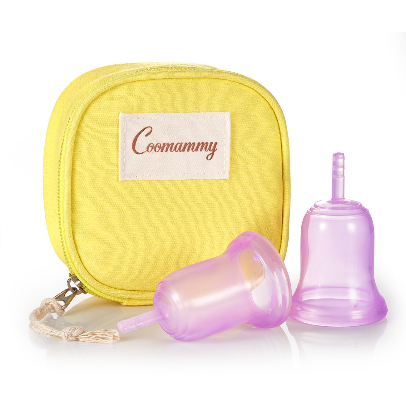 Coomammy Reusable Menstrual Cup with Zipper Bag,Perfect Feminine Hygiene Period Cup,Natural Alternative for Tampons and Sanitary Napkins,Pack of 2 (Large+Small, Purple)