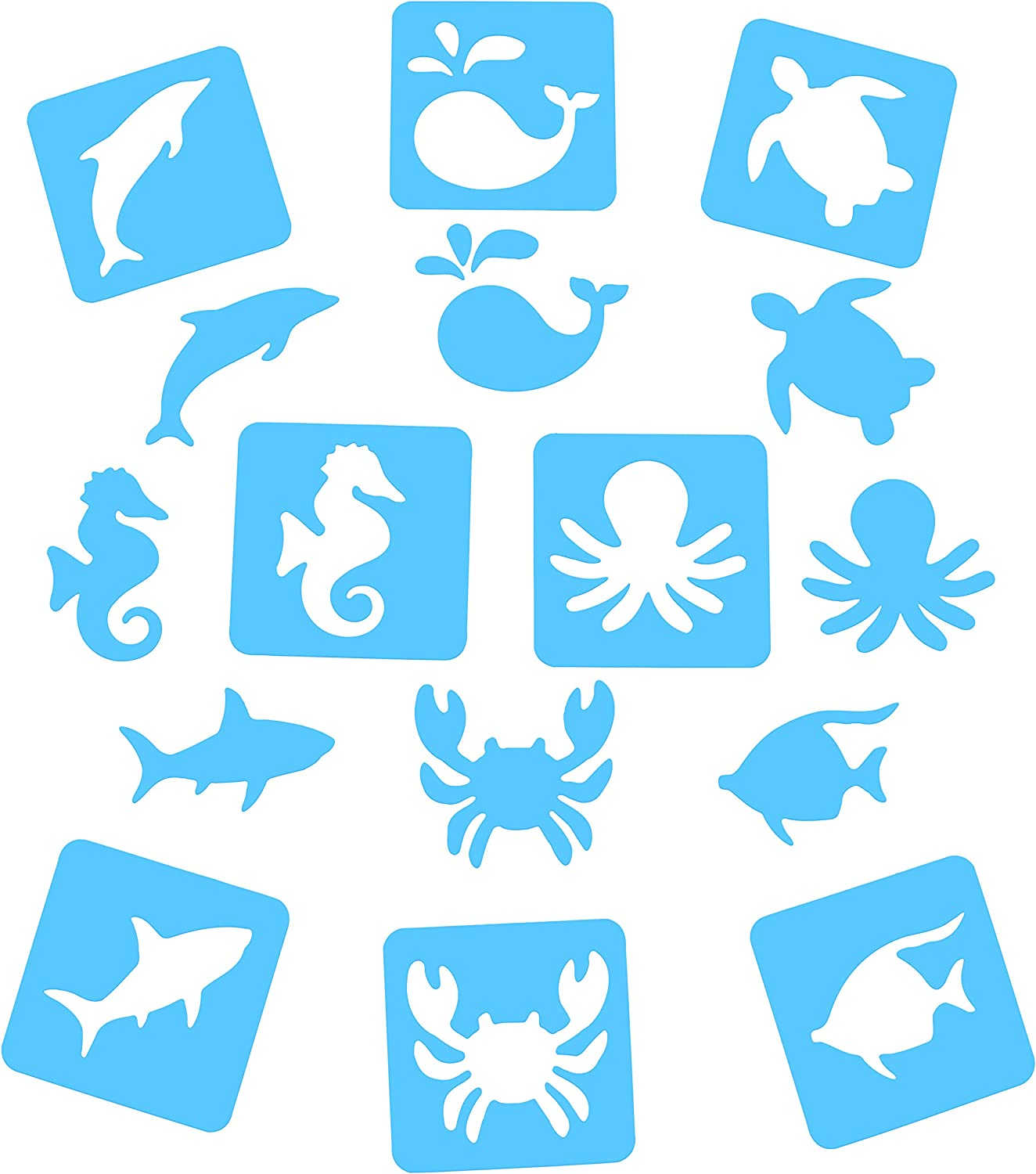 Magnetic Stencils for Kids - Ocean Stencils - 8 Great Stencils for Toddlers as The Large 5 inch by 5 inch Stencils are held in Place for Easy use (Magnetic Easel and Whiteboard not Included)