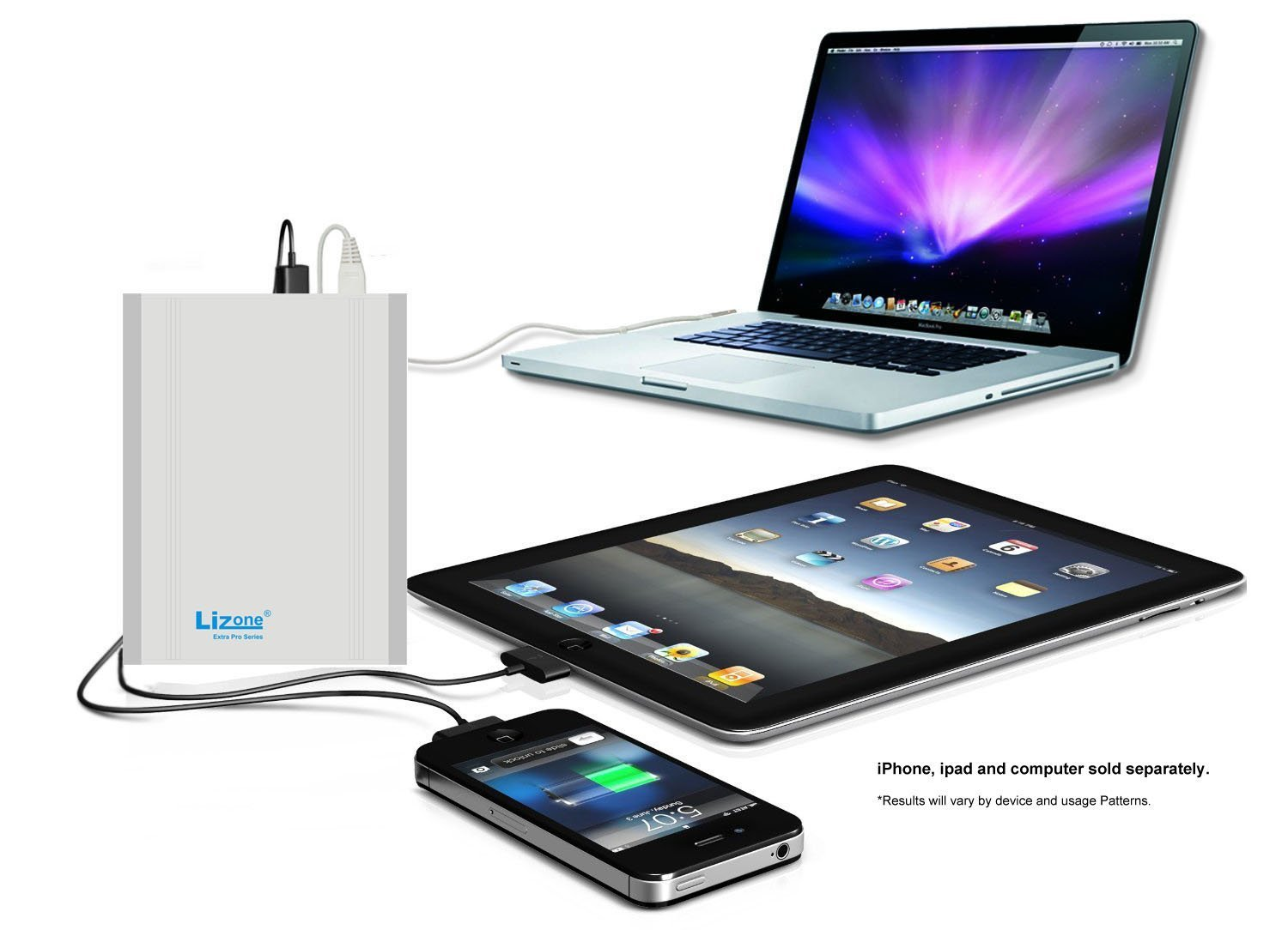Lizone Extra Pro 40000mAh External Battery Charger for Apple MacBook Pro Air...HP and Lenovo...USB Power Bank Charger for Apple iPad iPhone; Samsung MOTO LG HTC...Aluminum UniBody Silver 40000mAh by Lizone