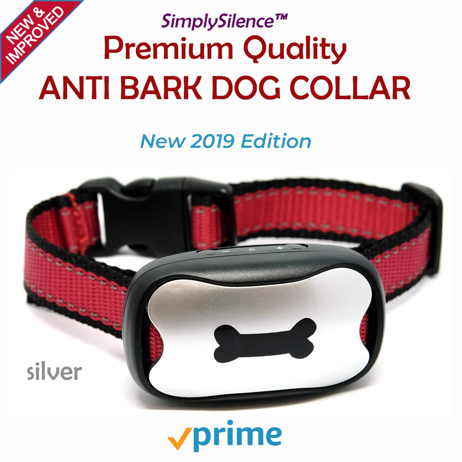 NEW Anti Barking Dog Collars   No Bark Humane & No Harm Device  STOP Bark Collar Sound & Vibration, No Shock 7 Sensitivity Levels Training For Small, Medium & Large Dogs   Water Resistant (Silver&Red)