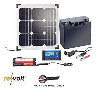 Revolt Solaranlagen Solarpanel 20 W Mit Akku Laderegler Und 230