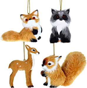 Gejoy 4 Pieces Plush Animal Ornament Christmas Hanging Ornament Plush Holiday Animal Tree Decoration for Christmas Supplies