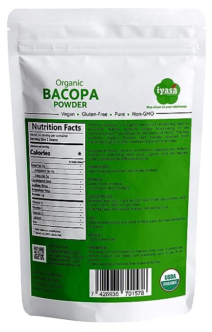 Polvo orgánico Bacopa, polvo Brahmi, USDA, Ayurveda para el ...