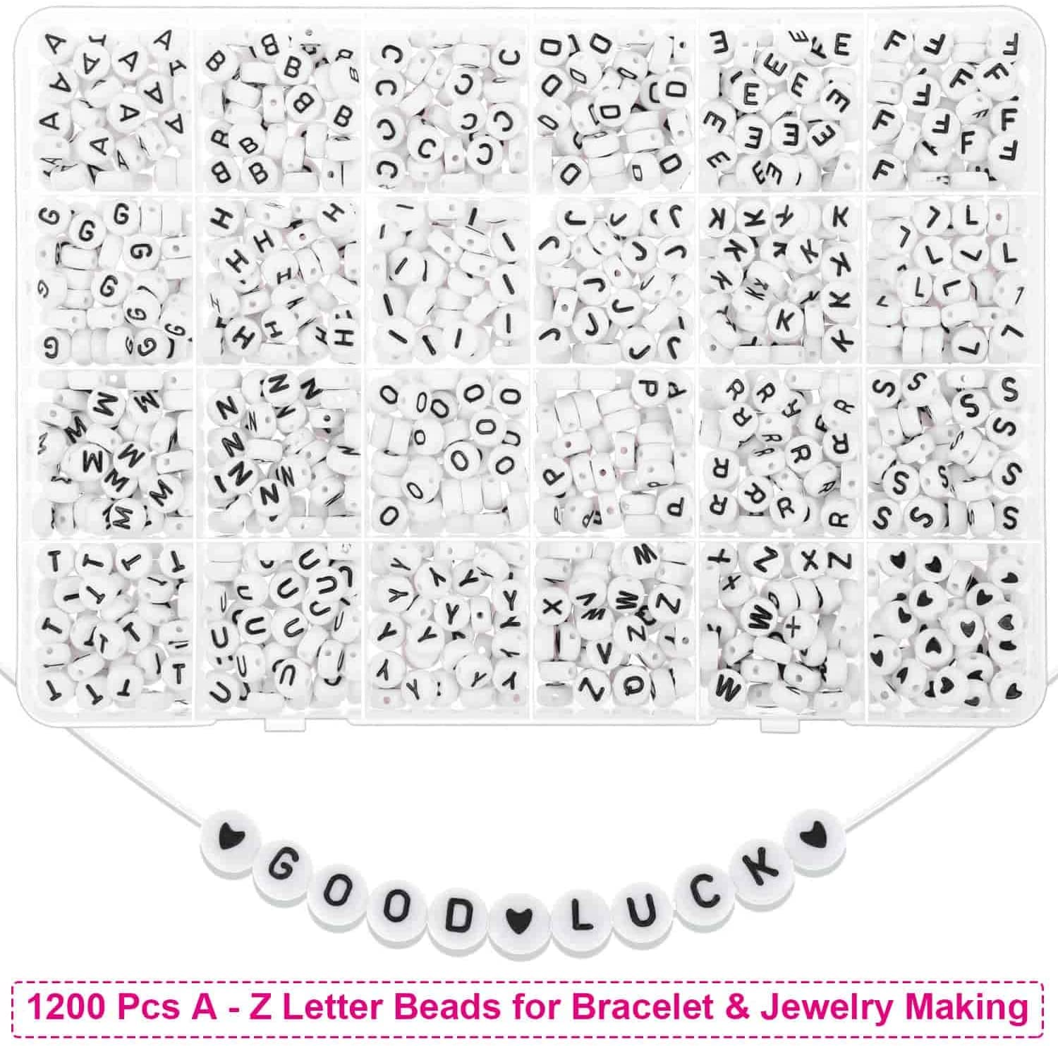 Beads for Bracelets Cridoz 2800 Pcs 4mm Small Pony Beads with 1200 Pcs
