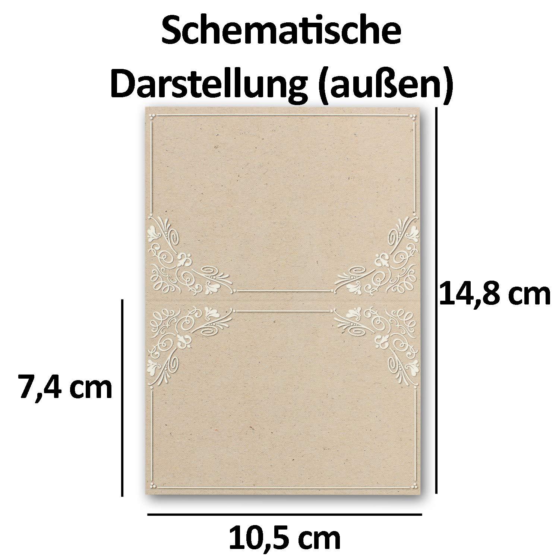 200 Vintage Tisch-Karten Kraftpapier Ornament Ornament Ornament DIN A7 - Falt-Karten 7,4 x 10,5 cm bedruckbar - Namens-Kärtchen - Tischdeko - von Ihrem Glüxx-Agent B07GS7YBG1 | Lebensecht  abd41f