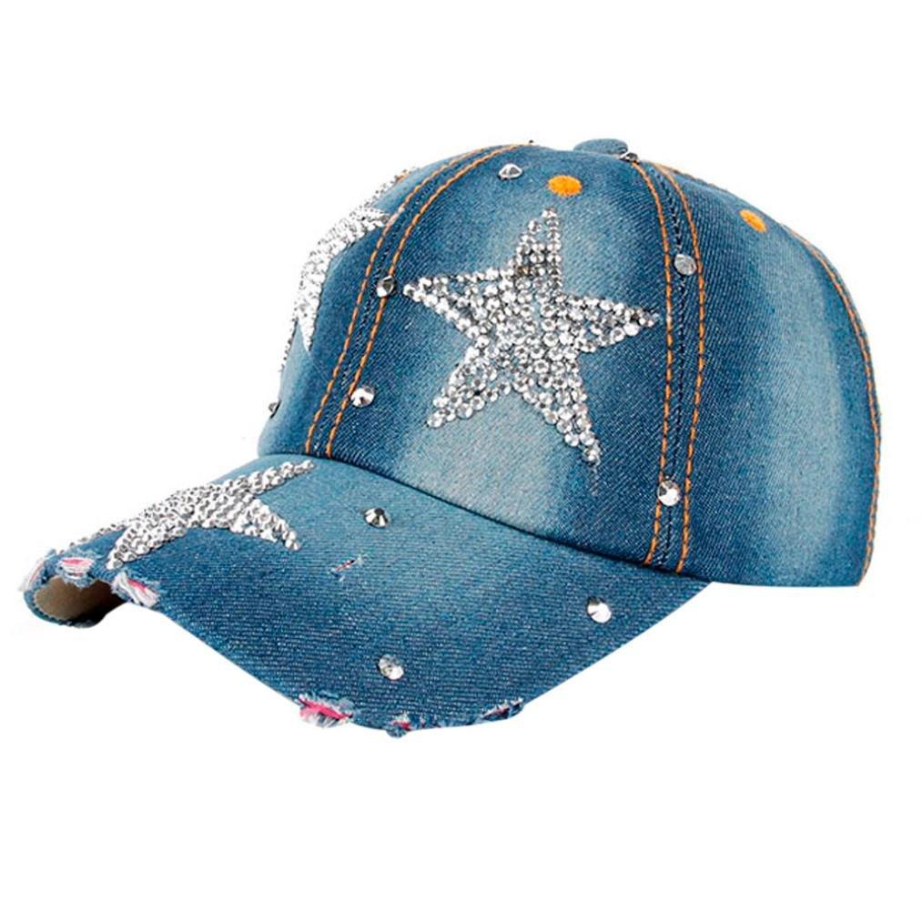 c3806a141a5 Fashion Boy Girls Hip Hop Flat Hat Shinny Bling Studded Rhinestone Stars  Duck Hat Denim Baseball Cap Sun Hat (Dark Blue)  Clothing