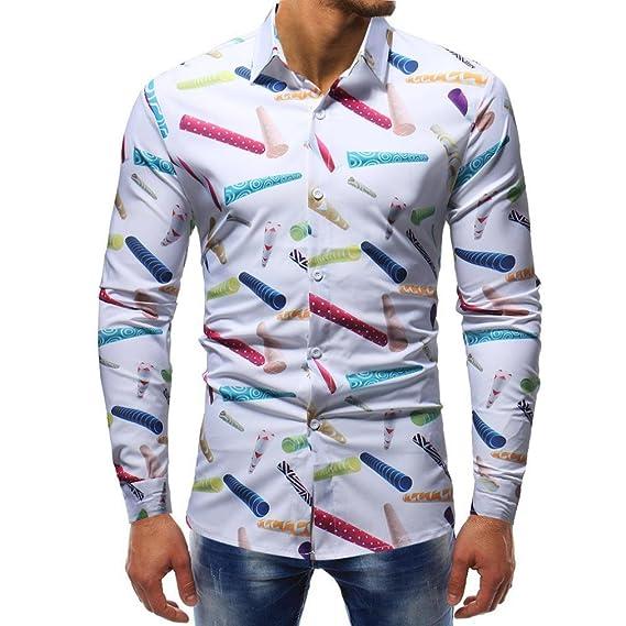 Yvelands de Alta Calidad de los Hombres de la Moda Hermosa Solapa Informal Formal Slim Fit Camisa Impresa con Botones Camiseta Top Sport Blusa, ...
