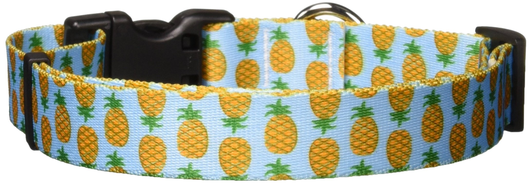 Yellow Dog Design Pineapples Blue Dog Collar, Large-1'' Wide fits Neck Sizes 18 to 28''