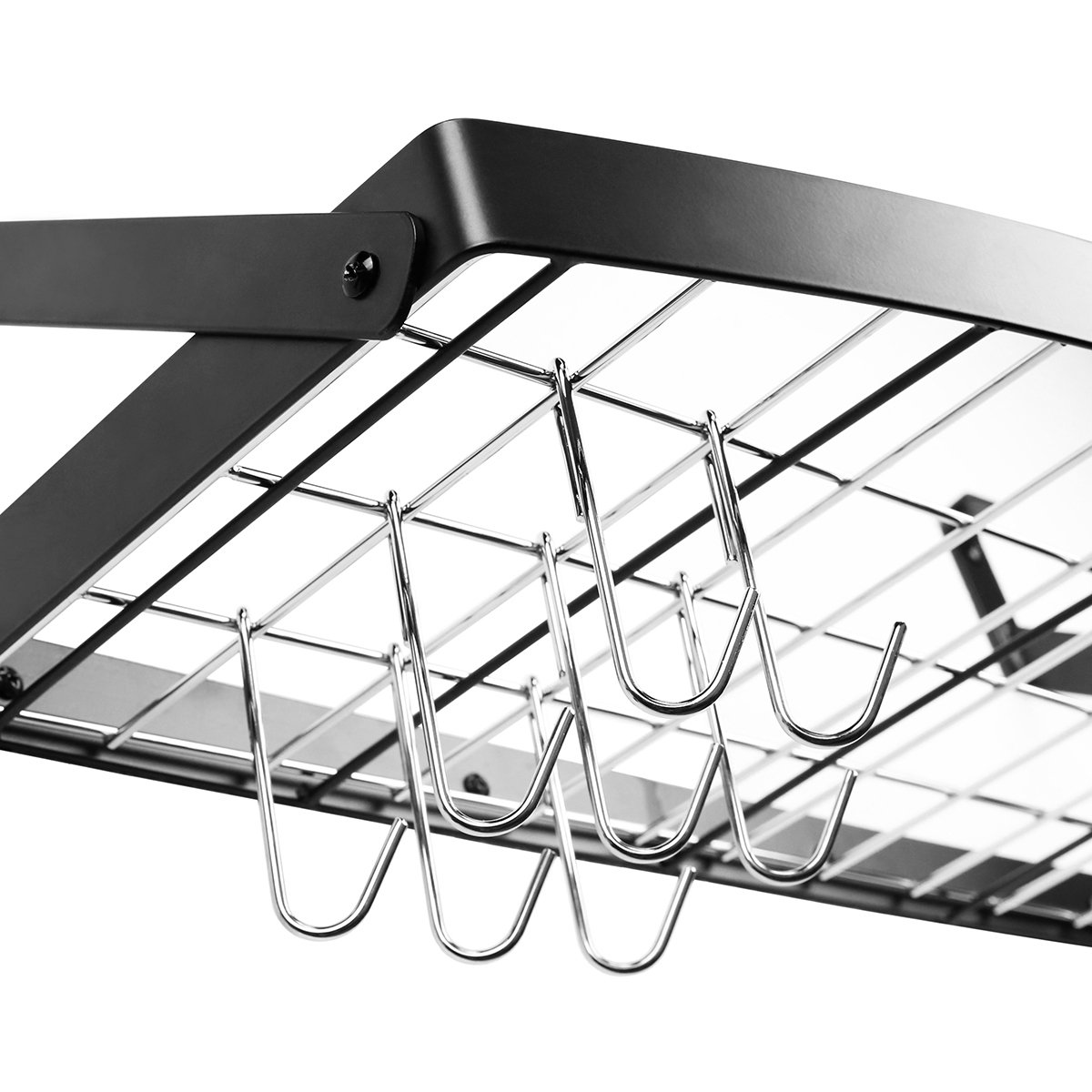 amazon com decobros wall mount square grid pot pan rack includes