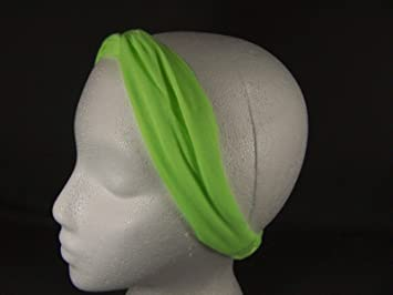 Neon Green Turban Twist Headband Stretch Jersey Soft Fabric 1.75 quot  Wide  Turband Girls Headbands For b9ce638d7d9