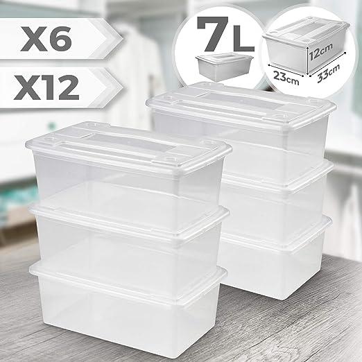 Juego de 6 o 12 Cajas de Plástico con Tapa - Transparente, 33 x 23 ...