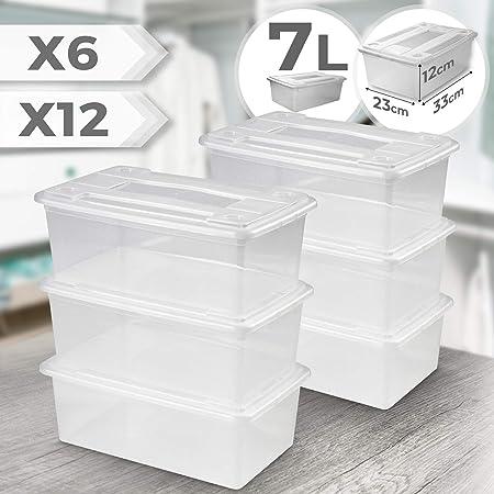 Juego de 6 o 12 Cajas de Plástico con Tapa - Transparente, 33 x 23 x 12 cm (7 litros) - Cajas de Almacenamiento y Organización Apilables, Caja Multiusos para Zapatos, Ropa, Garaje (Juego de 6): Amazon.es: Hogar