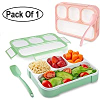 GETKO WITH DEVICE Leakproof 4 Compartment Plastic Kids Childrens Lunch Box with Removable Divided Container for Girls, Boys and Kids School, Office Lunch Box with Spoon - Multi Color