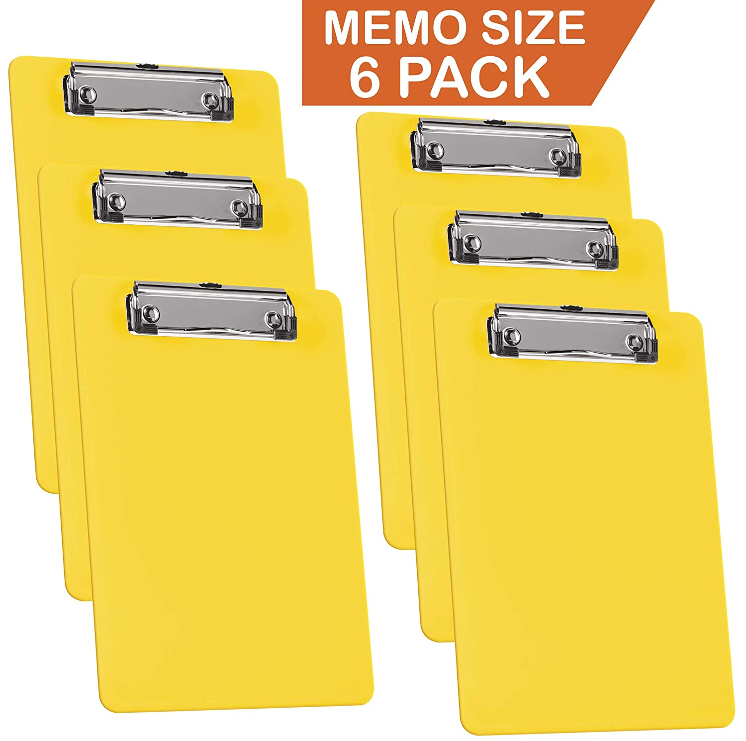 Acrimet Clipboard Memo Size A5 Wire Clip (Plastic) (Solid Yellow Color) (6 Pack) 137C.A.C