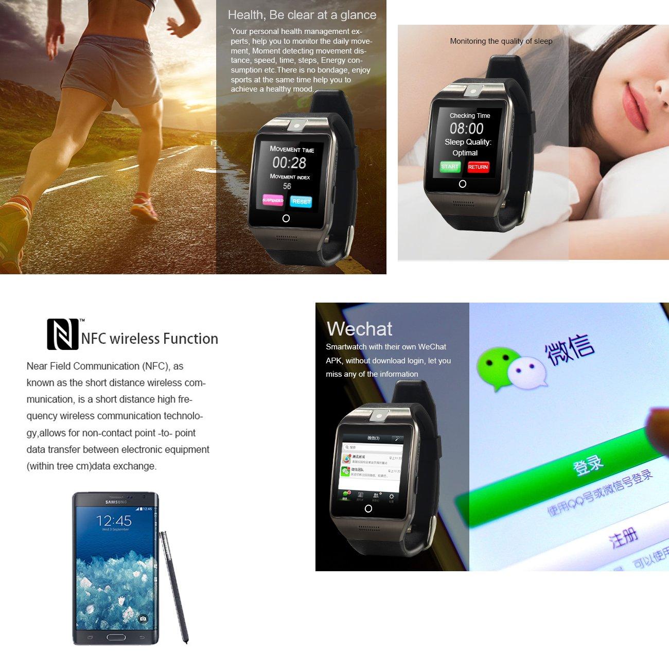 Tera Apro Pulsera Reloj Inteligente GSM NFC Podómetro Selfie ...