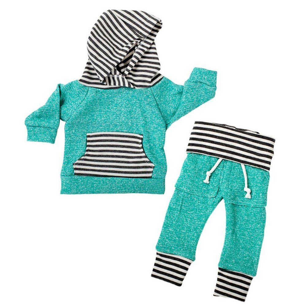 Baby Boy Girl Kids 2pcs Warm Daily Outfit Striped Green Hoodie Top+Stretch Long Pants