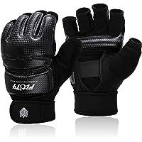 FitsT4 Half Mitts UFC MMA Training Boxing Punch Bag Kickboxing Sparring Grappling Martial Arts Muay Thai Taekwondo Wrist Wraps Support Gloves for Women Men Kids