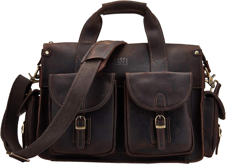 BRASS TACKS Leathercraft Men s Genuine Leather Messenger Bag 12 Laptop Briefcase Vintage Handbag Dark Brown